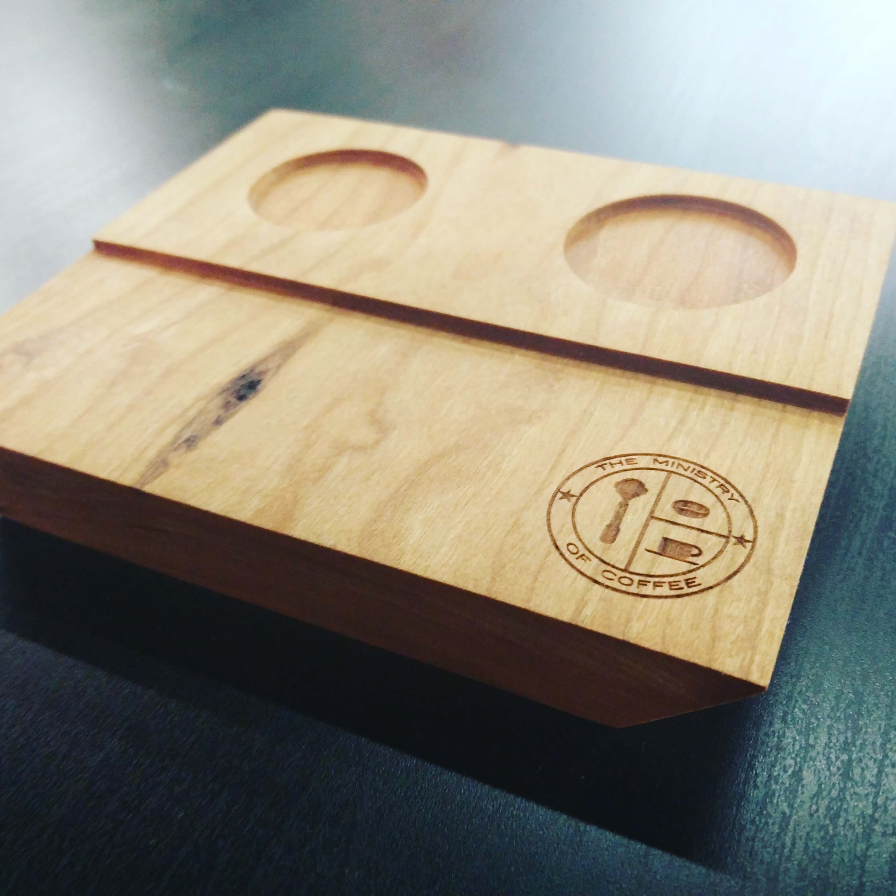 cnc wood espresso block. Coffee tray The Ministry of Coffee.