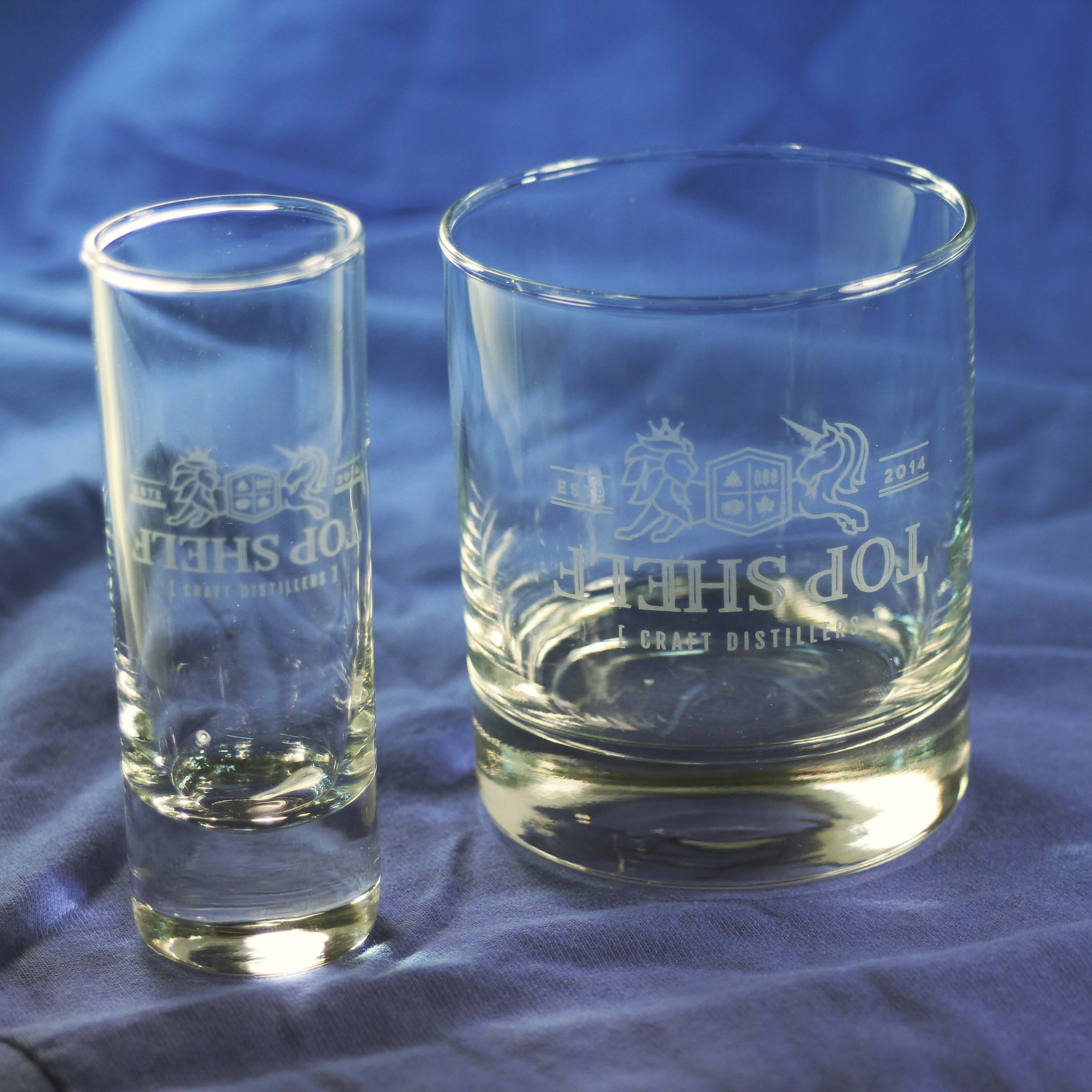 Drinkware, glassware, custom, printed, branded, logo, laser etched, shot glass, rocks glass. Ottawa Ontario, Canada. CAD. All Things Made. Promotional products, swag, bar, restaurants.