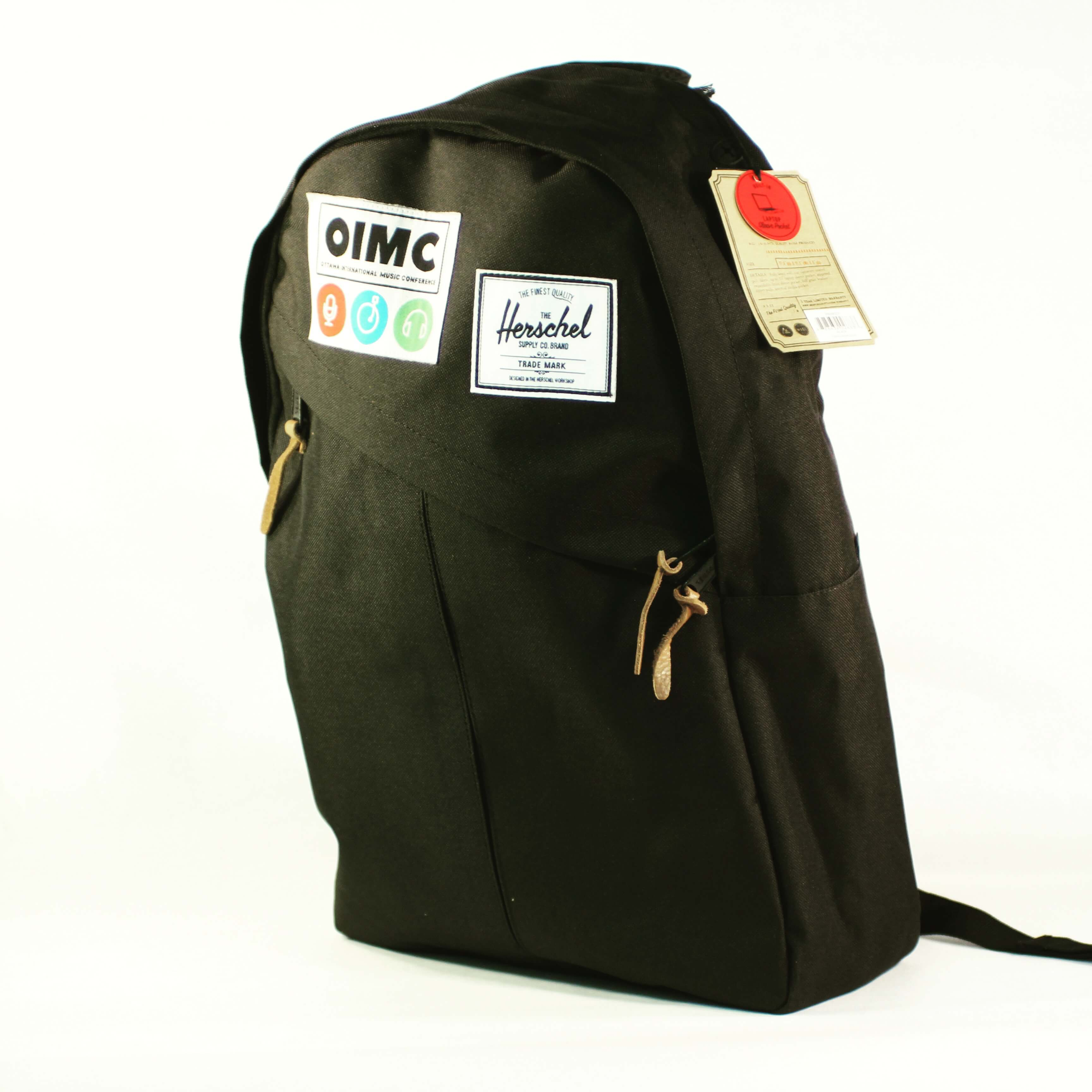 Custom Herschel Back Pack. Custom embroidered Herschel nap sack. All Things Made. Ottawa, Ontario, Canada. Promotional products swag merchandise. OIMC. Ottawa International Music Conference.