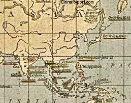 Map China and Far East Colonies during 17Th Century
