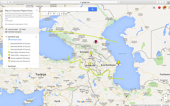 This is a minature image version of the larger Google supported map of the Caucasus Region available inside AsiaReport.com