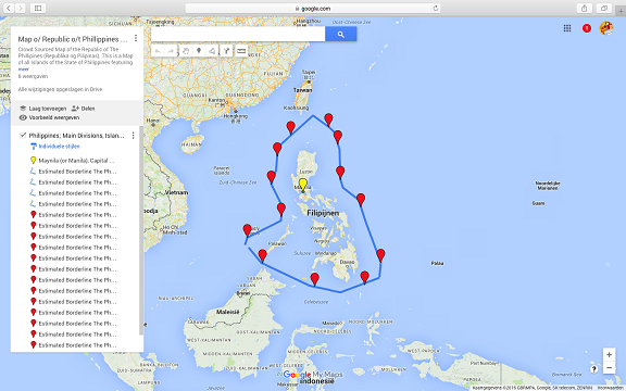 This is a miniature image version of the larger Google supported map of The Philippines as available inside AsiaReport.com