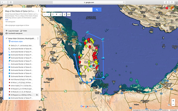 This is a mniature image of the larger map of Qatar available inside AsiaReport.com