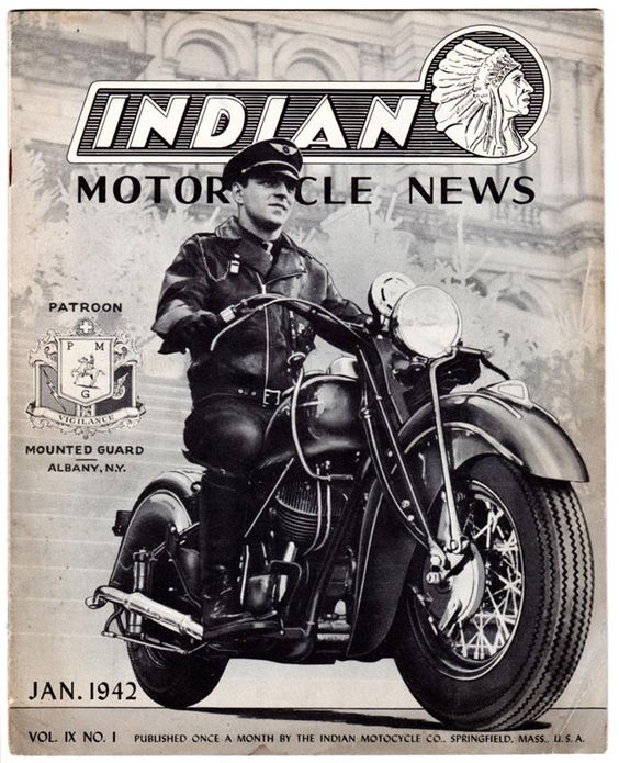 This is a cover of the Indian bike company magazine from 1942 featuring a biker in a leather jacket cap and boots