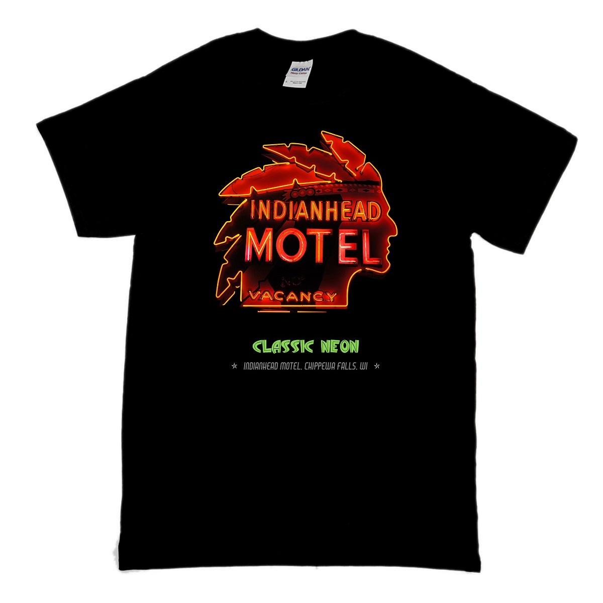 This is a t-shirt featuring the red neon sign of the Indianhead Motel done in the Americana Mid Century style from the 1950's and part of the Classic Neon t-shirt collection