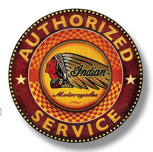 This is an Indian motorcycle dealership sign featuring a native American Indian in a headress