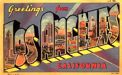 This is a 'large letter' vintage Americana postcard from the fifties with the typical 'greetings from Los Angeles' salutation