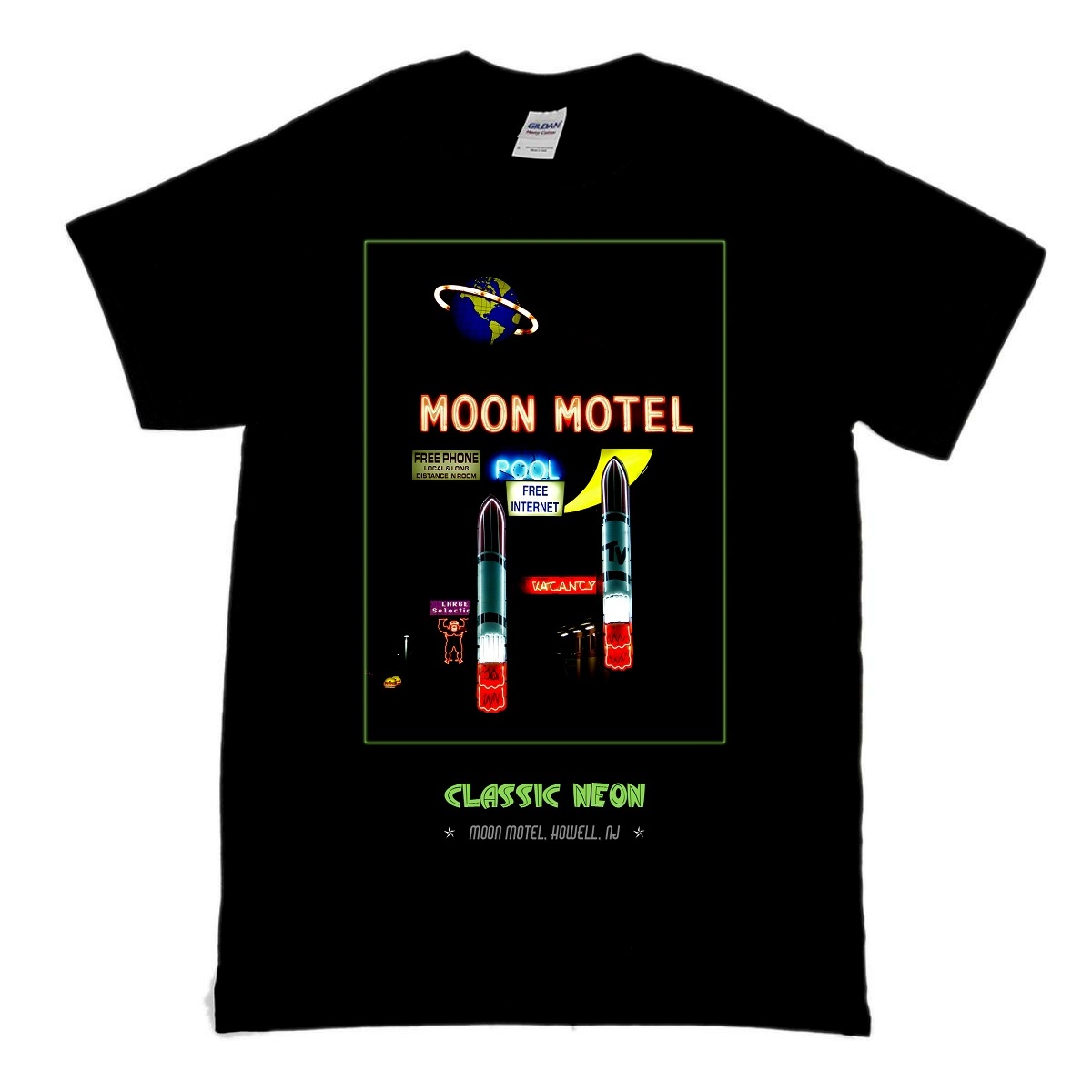 This is a classic cotton t-shirt with a design showing the vintage space age neon sign for the Moon Motel in Howell NJ