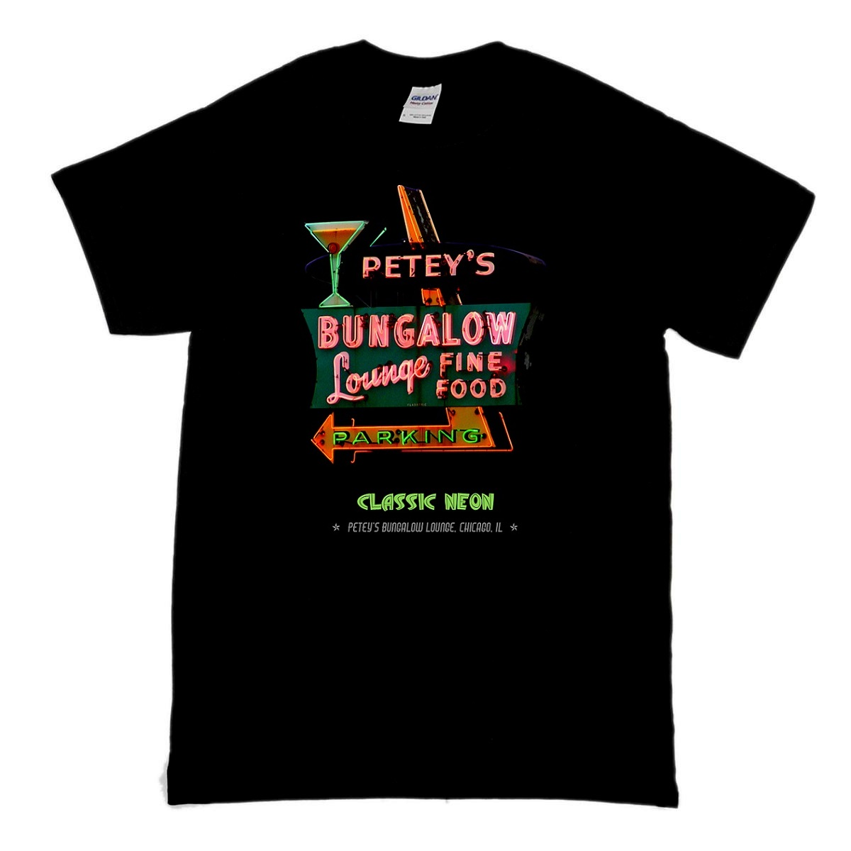 This is a t-shirt of a fantastic roadside neon sign for Petey's Bungalow Lounge in Chicago