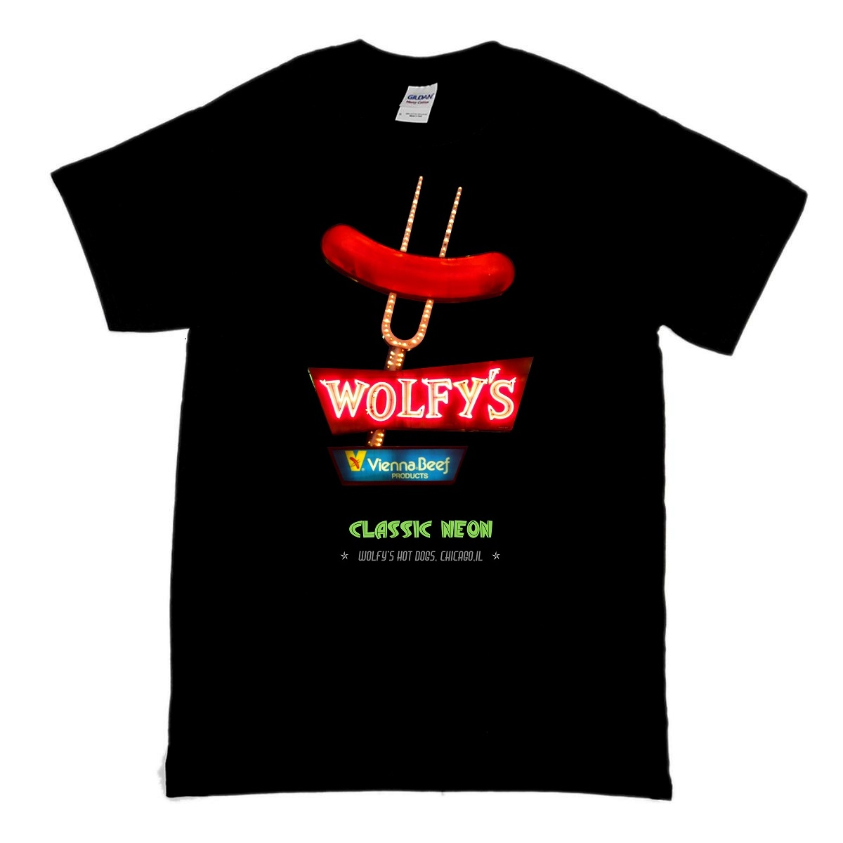 This is a classic t-shirt with a design featuring the vintage Wolfy's neon sign