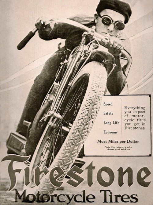 This is a photo ad from the 1950's showing a biker on a classic motorbike used as an ad for firestone tyres and of interest to bikers and rockin music fans of rockabilly and rock music in general.