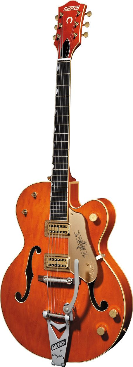 This is a photo of the red hollow body electric gretsch guitar that belonged to Rock 'N' Roll star  Eddie Cochran