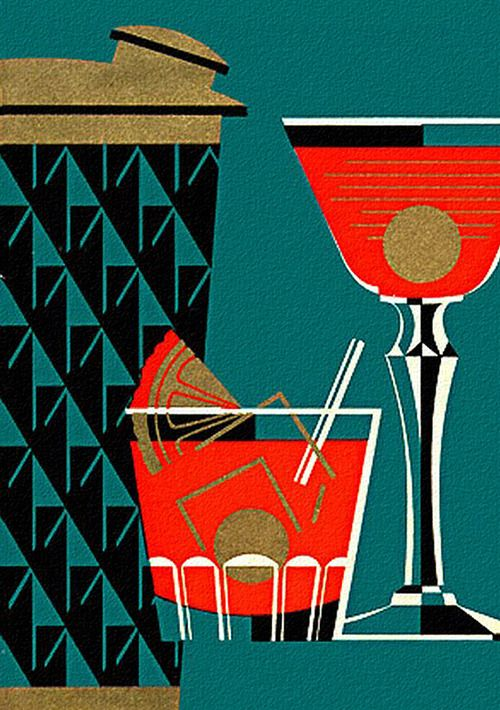 This is a great mid century graphic design of a cocktail shaker and glasses appealing to fans of forties and fifties graphic art and design
