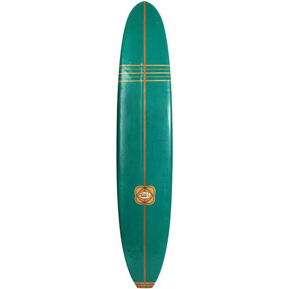 This is a vintage 50's surfboard in the classic midcentury jade green color