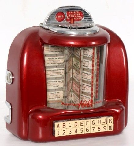 This is a classic vintage fifties diner tabletop juke box