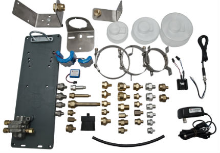 image of all accessories including distribution blocks, adapters, battery backs for all automatic lubricators