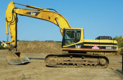 Large CAT digger with our automatic titan luber lubricating multi lube points on the arm