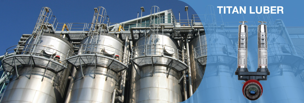 The titan luber is our automatic lubricator that uses grease cartridges, seen here with Oil & gas plant storage cylinders