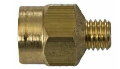 Brass adapter reducer that connects to ATS lubricator and reduces the size of the fitting for a bearing