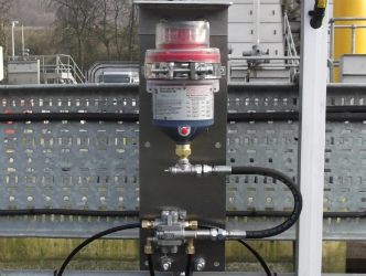 A multi-point automatic lubrication system being used in a water treatment plant toprovide economical lubrication to water treatment machinery