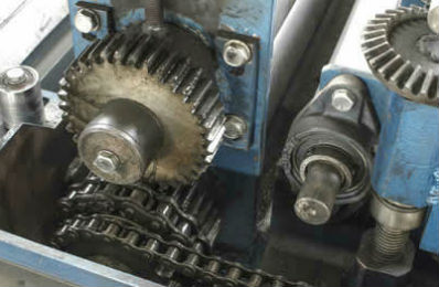 Open gears on a motor in the manufacturing industry