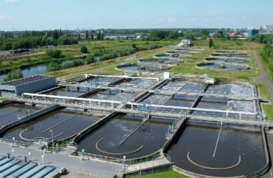 Birds eye image of water treatment facility where ATS automatic lubricators play a vital role in keeping machinery maintenance costs down