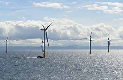 Wind turbine at sea that houses the ATS wind luber and pinion system