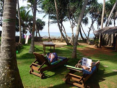 relaxing in the garden of the Hikkaduwa Beach House