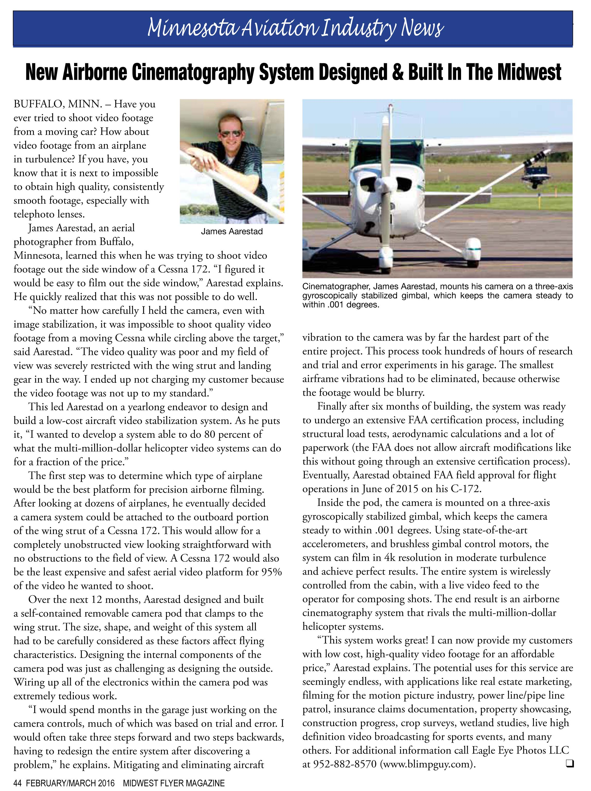 Midwest Flyer article about Eagle Eye Photos LLC