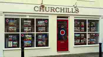 the front and entrance of churchills office