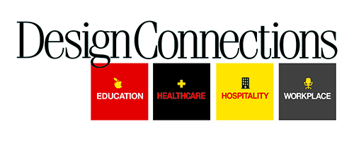 Design Connections Logo for Header with Four Industry Verticals Education Healthcare Hospitality Workplace