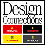 Design Connections Logo for Footer with Four Industry Verticals Education Healthcare Hospitality Workplace