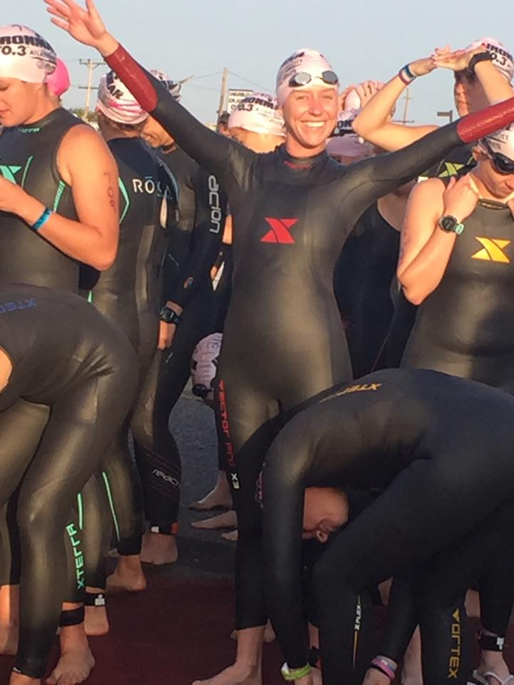 Emily getting ready for her wetsuit legal triathlon swim