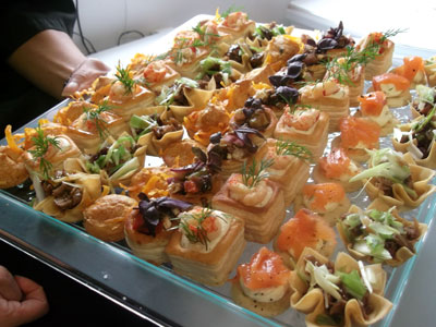 tray of canapes - event catering from langley larder