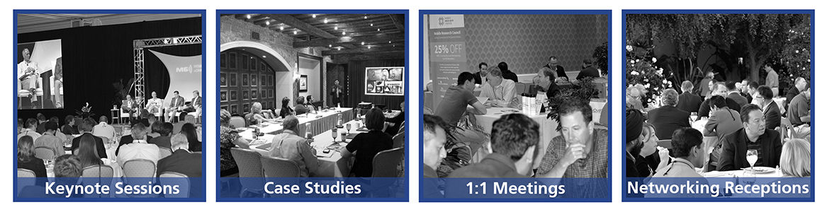 4 Images Depicting Keynote Sessions, Case Studies, 1:1 Meetings, Networking Receptions