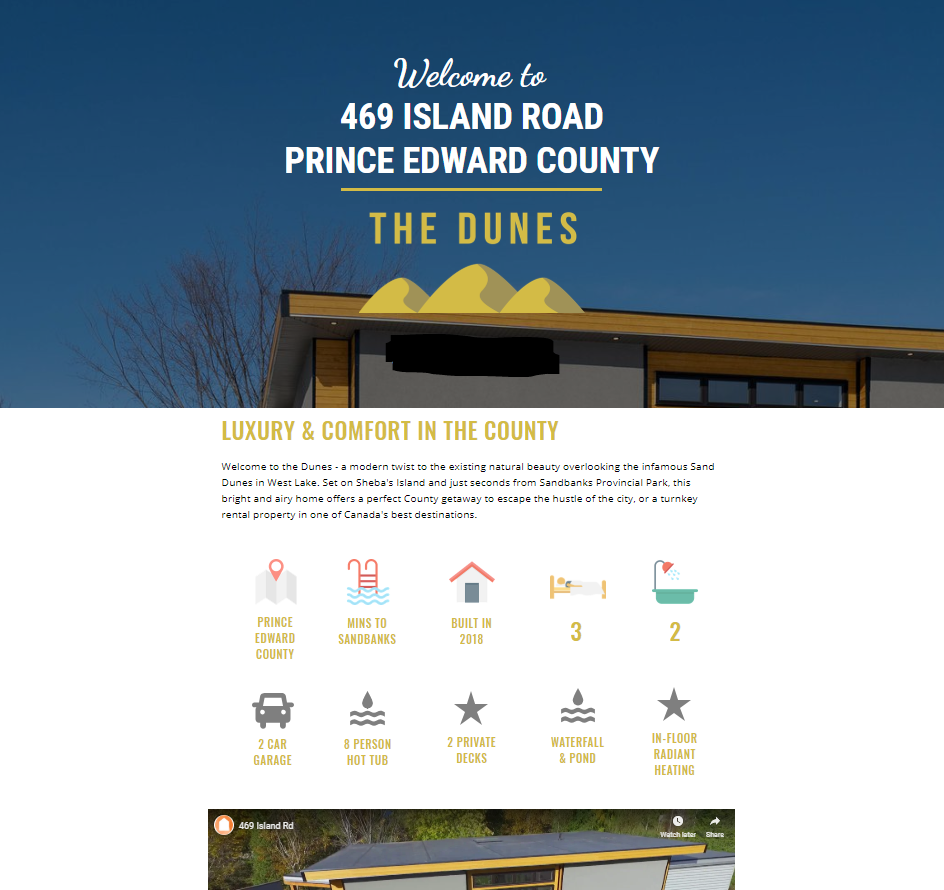 Example of a website for an airbnb in Prince Edward County