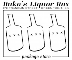 Dukes Liquor Box Logo, Greenpoint Brooklyn.