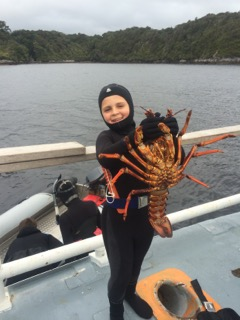 Big trophy crayfish caught by little man in Fiordland, New Zealand