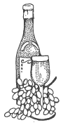 wine bottle with grapes and glass