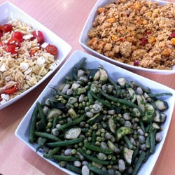 beans, rice and vegetables