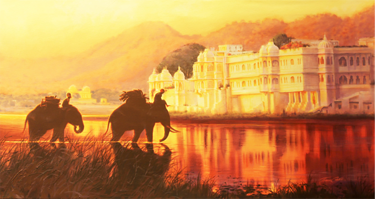 LAKE PALACE PAINTING BY TOM COSIC ART, ACRYLIC PAINTING ON CANVAS