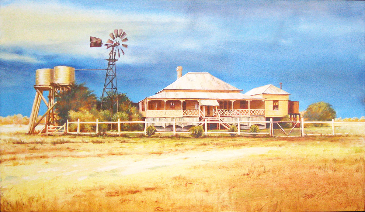 ROYSTIN FARMSTEAD PAINTING BY TOM COSIC ART, ACRYLIC PAINTING ON CANVAS